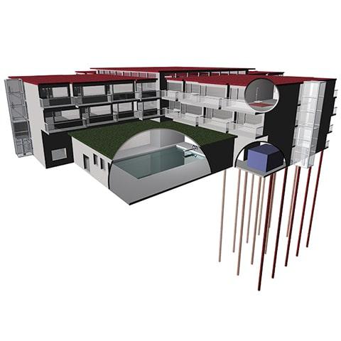 3D illustratie Energie uit dak opslaan in bodem
