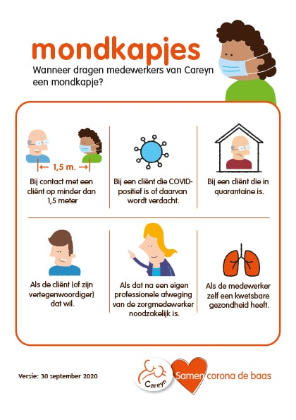 Corona flyer voor personeel Careyn